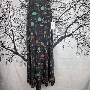 LuLaRoe Maxi Skirt Black, Green & Red Geometric XS